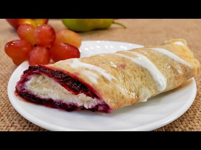 Рецепт: Пирожное - блинчики с джемом и творогом