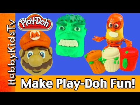 Hulk - HobbyKidsTV presents Make Play-Doh Hulk Mario Mr Potatohead Hello Kitty Snow Man Trash Can Fire Helmet. Watch HobbyDad and HobbyMom Make cool things out of Play-Doh in super awesome fast motion....