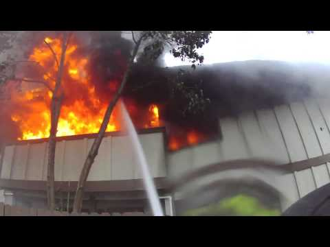 Fire - Helmet Cam footage from 1st in company of 3 alarm apartment fire.