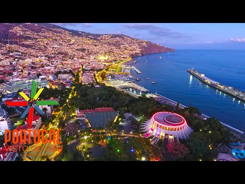 Funchal at dusk aerial view - Funchal ao entardecer - Cristiano Ronaldo Hotel - 4K Ultra HD
