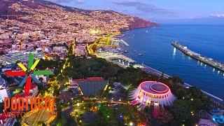 funchal, Cristiano Ronaldo, drone view, 4K, dusk, sunset, entardecer, hotels, restaurants, madeira
