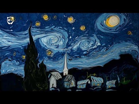 Ebru Tekniği ile Van Gogh'un Yıldızlı Gecesi