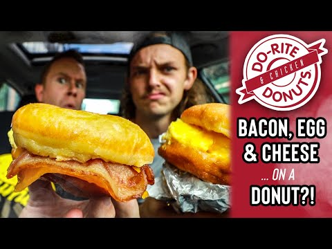 Eating Breakfast Meats, Egg & Cheese ... on a Glazed Donut at Do-Rite Donuts