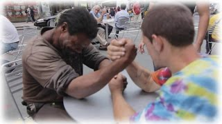 Making Homeless Guys Arm Wrestle For Money! But There's A Twist!