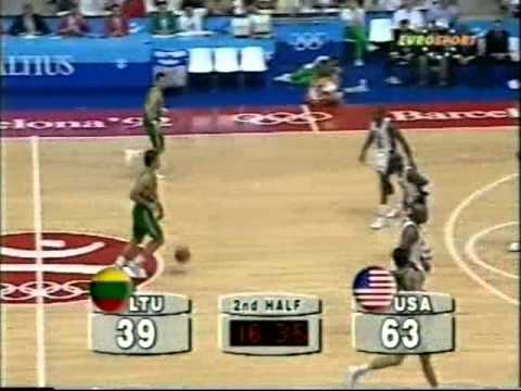 Jordan - Michael Jordan, coming off eighteen holes of golf, volunteered for the challenge of guarding Sarunas Marciulionis (#13) in the semi-finals of the 1992 Olympi...