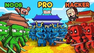 Red vs Blue vs Green NINJA WARS! (Noob vs PRO vs Hacker)