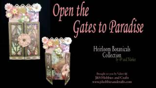 "Open the Gates to Paradise with this beautiful card made from 49 and Market Heirloom Botanical Paper Collection. The card is a Heartfelt Creations 5""x 7"" white foldout card embellished with Prima Flowers, Gold Bling and much more. Supplies for this card can be purchased at www.jshobbiesandcrafts.comProducts used in this card:• 49 and Market Heirloom Botanical Paper Collection• Heartfelt Creations 5""x 7"" White Foldout Cards • Martha Stewart Arbor Loop Paper Punch• Spellbinders Art Nouveau Metro Style Gatefold• Heartfelt Creations Fleur Border Basics Die• Designs by Shellie Laser Wood Birdcages• Prima Marketing Rose Flowers Rosa Verona• Prima Marketing Rose Flowers Haley • Fancy Ivory Flat Back Pearls• Bling on a Roll - Gold• Stickles Gold • Art Glitter Glue• Metal Glue Tip• Magnet  3/8″ x 3/8″ x 1/16″ Thick"