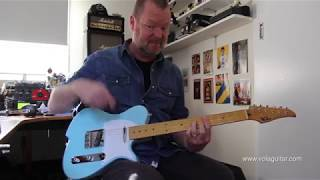 """https://www.volaguitar.com/guitars/vola-vasti/vola-vasti-sonic-blue.htmlFull review including this jam at https://youtu.be/hznODnexndoThe Vola Guitars Vasti is a clever hybrid of vintage heritage and modern appointments. It starts as a classic 'T-Style' guitar and picks up some welcome improvements along the way to 2017. Improvements such as the Gotoh bridge and tuners; 12"""" radius fingerboard with perfectly manicured jumbo frets; two of the best T-Style pickups I've ever tried; a 'power boost' over the bridge pickup that is definitely a plus, and superb playability that owes as much to the late 50's neck profile and flatter radius as it does to the impeccable Japanese craftsmanship. If I had to compare the Vola's quality to another brand, I'd put it up there with the mid-2000's ESP Custom Shop stuff. Fortunately the Vasti is priced a little easier on the pocket but make no mistake, this is a professional grade instrument - an investment for the long term. The Vasti gets a 9/10 from me. I'm deducting one point because it doesn't ship with a case. You do get a cool gig bag and lack of a case may not be a big thing to everyone, but this guitar is so good you'll be wanting to travel with it, so a case will be needed.Today's tools:Guitar: 2017 Vola Guitars Vasti Sonic Blue.Amps: Fractal Audio Axe-FX II XL+ Deluxe Reverb and Friedman HBE models (Firmware Quantum 8.02 factory preset numbers 004 and 025).Cables: Goodwood Audio and ProvidencePower Supply: N/AMic: Samson Airline77 (me)Camera: Canon 60D and Nikon D5100Soundcard: AVID Mbox Pro 3 (microphone) and Fractal Audio Systems Axe-FX II XL+Computer: Apple iMac 27"""" i7 3.4 GHz 16 GB RAMSoftware: Logic Pro X, Waves L3-16 Limiter (to keep levels in check at output), Apple Final Cut Pro X (video editing and Youtube compression)."""