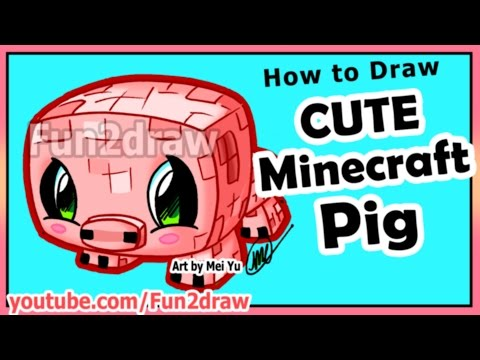 How to Draw Minecraft Characters - Pig + Fun Extra Drawing - Best Cartoon Art Lessons by Fun2draw