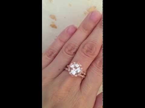 White Topaz Diamond Engagement Ring and Wedding Band Bridal Set Rose Gold by La More Design