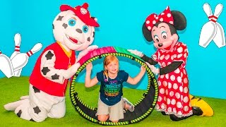 PAW PATROL Nickelodeon Assistant Bowling with Marshall and Minnie Mouse Kids Video