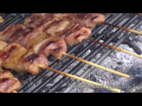 street pork BBQ หมูปิ้ง Thai favourite street food