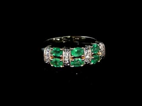 Lady's 14k Yellow Gold Emerald and Diamond Ring