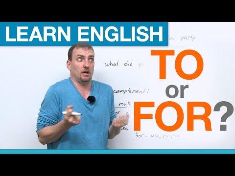 (videó) TO vagy FOR? Angol prepozíciók helyes használata gyakorlás