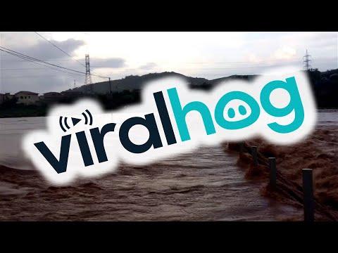 assurdo come un'autovettura riesca ad attraversare un fiume straripante
