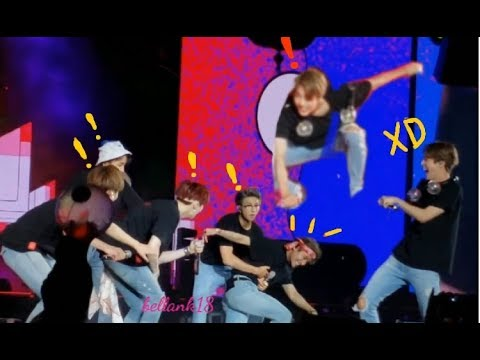 BTS trying to perform on a slippery stage, Taehyung falls pretty hard