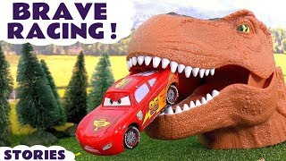Video Disney Cars Toys Scary Racing with Dinosaur and Hot Wheels Cars for Kids Spiderman Batman TT4U MP3, 3GP, MP4, WEBM, AVI, FLV Juli 2017
