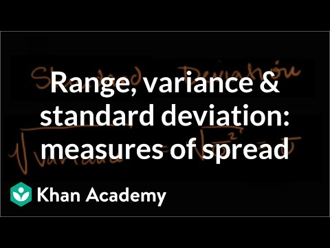 range - Learn more: http://www.khanacademy.org/video?v=E4HAYd0QnRc Range, Variance and Standard Deviation as Measures of Dispersion.