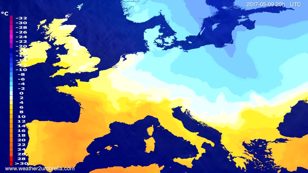 Temperature forecast Europe 2017-05-07