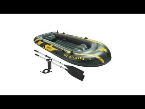 Intex Seahawk 4 4 Person Inflatable Boat Set with Aluminum Oars and High Output Air Pump
