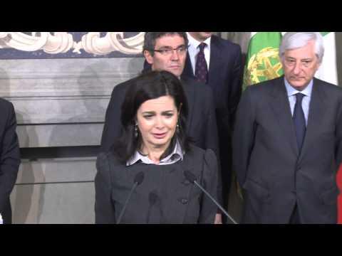 Il Presidente della Camera dei Deputati, Laura Boldrini, al termine delle consultazioni