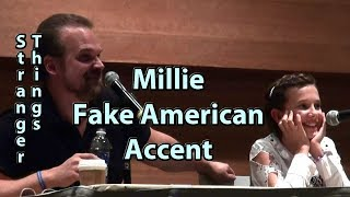 Millie Bobby Brown uses Fake American Accent on Stranger Things w/ David Harbour Phoenix Comicon