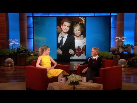emma stone - The second Spider-Man movie is about to start production, and Emma Stone was here to tell Ellen her thoughts on her superhero co-star, Andrew Garfield.