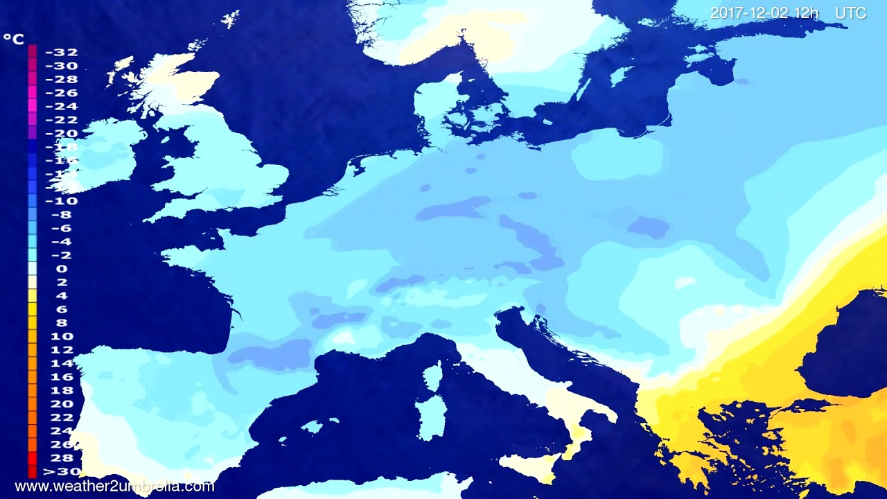 Temperature forecast Europe 2017-11-30