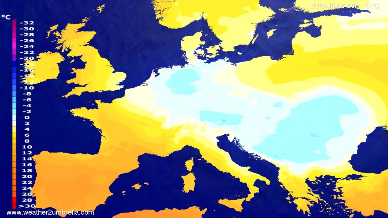 Temperature forecast Europe 2016-10-03