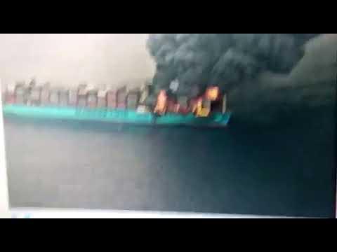 Крупный пожар на контейнеровозе