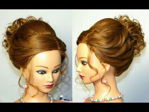 Wedding prom updo. Hairstyles for long hair. Прическа на выпускной, свадебная прическа.
