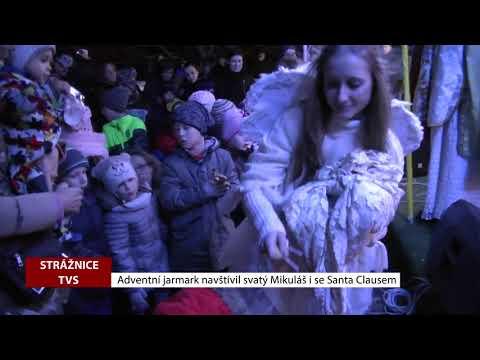 TVS: Strážnice - Adventní jarmark navštívil svatý Mikuláš se Santa Clausem