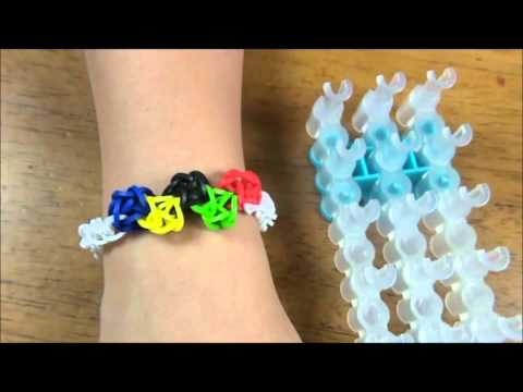 Olympic theme rubber band bracelet made with Rainbow Loom