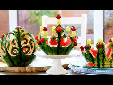 How To Make Watermelon Crown - Fruit and Vegetable Carving Garnish - Food Art Decoration