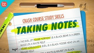 The first step in honing your new study skills is to take better notes. This week Thomas will tell you everything you need to know to come to class prepared and find a note-taking system that will help you retain and review like a champ.Resources:Study on computer vs. paper note-taking: http://journals.sagepub.com/doi/pdf/10.1177/0956797614524581Evernote: https://evernote.com/OneNote: https://www.onenote.com/Dropbox Paper: https://paper.dropbox.comCoggle (mind-mapping tool): https://coggle.it/***Crash Course is on Patreon! You can support us directly by signing up at http://www.patreon.com/crashcourseThanks to the following Patrons for their generous monthly contributions that help keep Crash Course free for everyone forever:Mark, Les Aker, Bob Kunz, Mark Austin, William McGraw, Jeffrey Thompson, Ruth Perez, Jason A Saslow, D.A. Noe, Shawn Arnold, Eric Prestemon, Malcolm Callis, Advait Shinde, Rachel Bright, Khaled El Shalakany, Ian Dundore, Tim Curwick, Ken Penttinen, Dominic Dos Santos, Indika Siriwardena, Caleb Weeks, Kathrin Janßen, Nathan Taylor, Andrei Krishkevich, Brian Thomas Gossett, Chris Peters, Kathy & Tim Philip, Mayumi Maeda, Eric Kitchen, SR Foxley, Tom Trval, Cami Wilson, Moritz Schmidt, Jessica Wode, Daniel Baulig, Jirat --Want to find Crash Course elsewhere on the internet?Facebook - http://www.facebook.com/YouTubeCrashCourseTwitter - http://www.twitter.com/TheCrashCourseTumblr - http://thecrashcourse.tumblr.com Support Crash Course on Patreon: http://patreon.com/crashcourseCC Kids: http://www.youtube.com/crashcoursekids