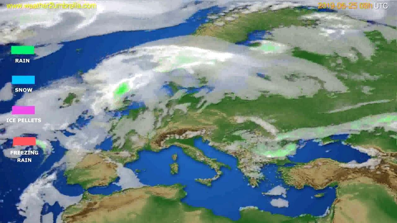 Precipitation forecast Europe // modelrun: 12h UTC 2019-06-23
