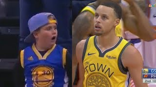 Stephen Curry Shocks Kid Who Can't Believe He's In Front Of Him! Warriors vs Suns