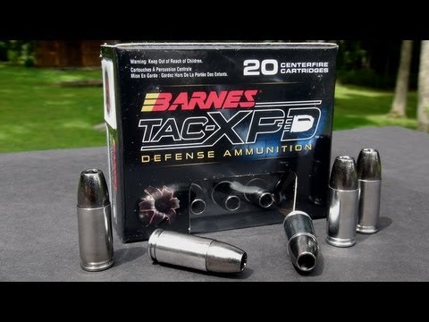 TAC - Review and test of the Barnes 9mm 115 gr TAC-XPD copper hollowpoint for self-defense. I'm using the SIM-TEST block (plus 4 layers of denim), and shooting a Glock 19 Gen4, 4