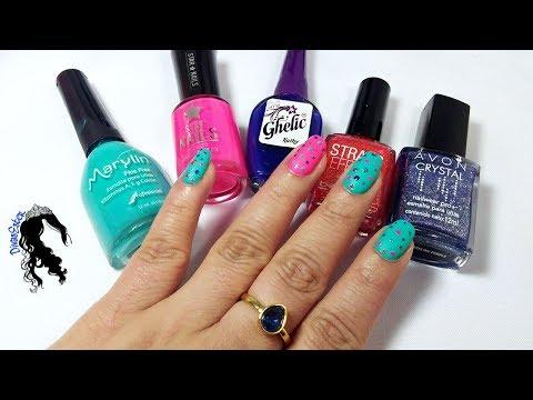 Modelos de uñas - Uñas matte colorido. Nailsart diseño de uñas fácil