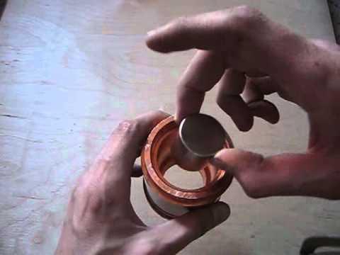 Neodymium magnet in copper pipe