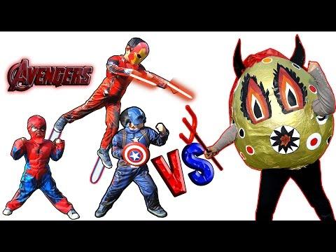 Ironman Captain America Spiderman Vs Evil Giant Egg Kids Super Heroes Cosplay