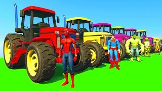 Learn Colors with Tractor & Jetski w Superheroes Cartoon Animation for Kids & Babies Nursery Rhymes