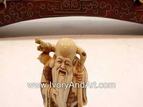 Mammoth ivory Netsuke - The 7 Lucky Gods On a Bridge