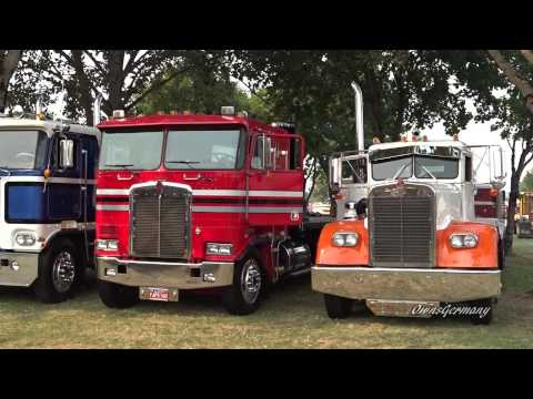 Classic Peterbilt, Kenworth & Mack Trucks Leaving Brooks Truck Show 2015