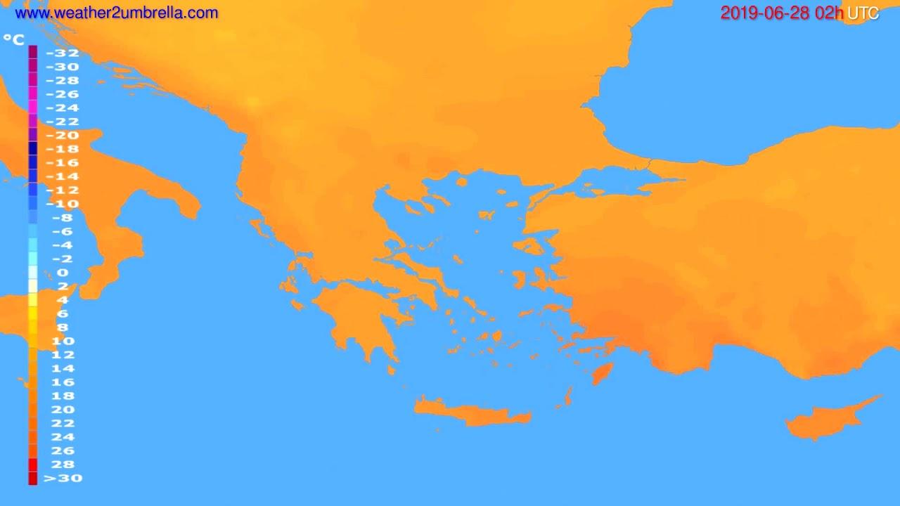 Temperature forecast Greece // modelrun: 00h UTC 2019-06-25