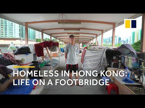 Homeless in Hong Kong: life on a footbridge