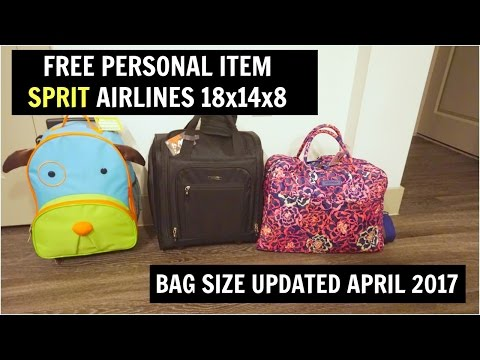 FREE PERSONAL BAG SPIRIT AIRLINES - APRIL 2017 - 18x14x8