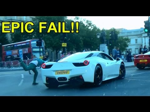 London Supercar Drive w/ Shmee150 – EPIC FAIL – drunk dude runs with cars and trips over!!