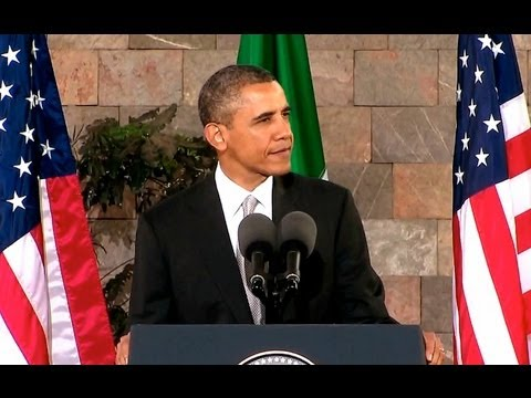 MEXICO - President Obama delivers remarks at the National Anthropology Museum in Mexico City. May 3, 2013.