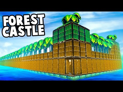 FLOATING Raft Castle FORTRESS Forest!?  (Raft Survival 2018 - Creative)